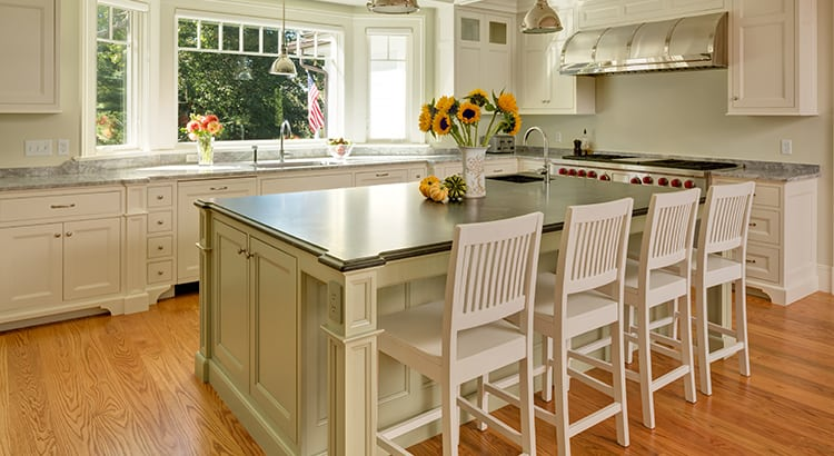 Traditional style custom kitchen with hardwood floors.