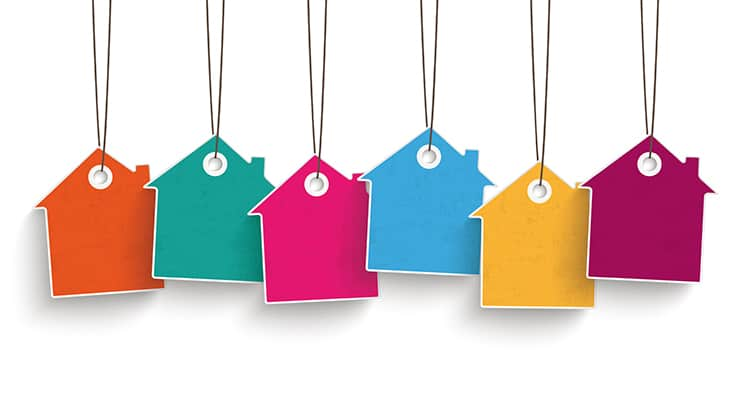 5 colored price sticker houses on the white background. Eps 10 vector file.